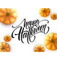 halloween lettering with pumpkin isolated on white vector image vector image