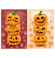 Halloween pumpkins and background set 3 vector image vector image