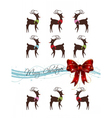 merry christmas card with deer pattern vector image vector image