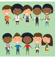 Multiracial school boys and girls vector image vector image