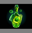 poison in magic bottle a green universe in a jar vector image vector image