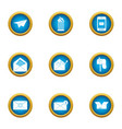 postal parcel icons set flat style vector image vector image