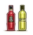 red and white wine vinegar bottles vector image vector image