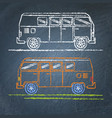 retro minivan sketch on chalkboard vector image