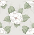 seamless pattern with hand drawn magnolia vector image