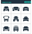Set of modern icons Kinds of cars suv vector image vector image