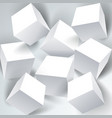 set of white 3d cubes structure over white vector image vector image