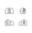 simple home and nature line icon set vector image vector image