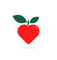simple red heart with leaf logo vector image vector image