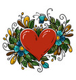 tattoo red heart decorated blue flowers curls vector image