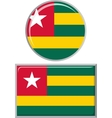 Togolese round and square icon flag vector image vector image