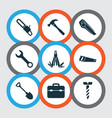 tools icons set with chainsaw utility knife vector image vector image