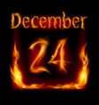 twenty-fourth december in calendar of fire icon vector image vector image