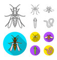 worm centipede wasp bee hornet insects set vector image vector image