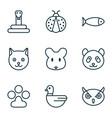 zoo icons set with seafood ladybug owl and other vector image