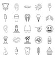 dental clinic icons set outline style vector image