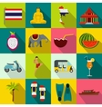 Thailand icons set flat style vector image