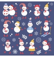 A cute snowmen seamless collection vector image vector image
