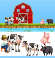 a farmland landscape and isolated character vector image vector image