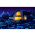 autonomous house with solar panels cartoon vector image vector image