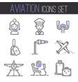 aviation icons set airline outline graphic vector image vector image