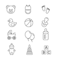 Baby toys and care thin line icons vector image vector image
