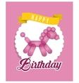 balloon horse ribbon happy birthday card pink vector image vector image