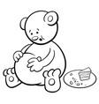 bear cartoon coloring book vector image vector image