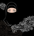 Beautiful arab woman silhouette vector image