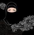 beautiful arab woman silhouette vector image