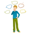 Boy with speech bubbles around vector image