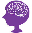 brain sign in heads boy in world alzheimers day vector image vector image