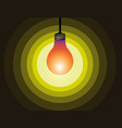bulb icon on yellow light effect vector image vector image