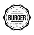 Burger vintage stamp logo vector image vector image