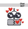 cartoon robot face smiling cute emotion blow kiss vector image vector image