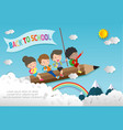 children flying on pencileducation concept vector image vector image