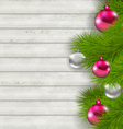 Christmas composition with glass hanging balls and vector image vector image