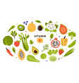 collection vitamin k sources fruits green vector image