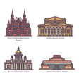 color russia architecture landmarks in thin line vector image vector image