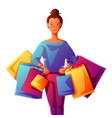 cute girl with packages vector image