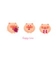 cute pink pigs are smiling and holding gifts for vector image