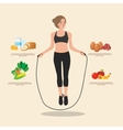 Cute sporty girl jumping with skipping rope vector image vector image