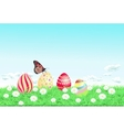 Easter background with decorated Easter eggs vector image vector image