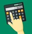 finger clicks on calculator vector image vector image