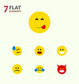 flat icon face set of delicious food tears vector image