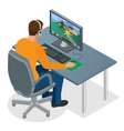Gamer playing on pc Concentrated young gamer in vector image