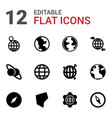 geography icons vector image vector image