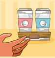 hand grabbing coffee vector image