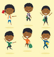happy african american school boys jumping outdoor vector image vector image