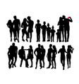 happy couple silhouettes vector image